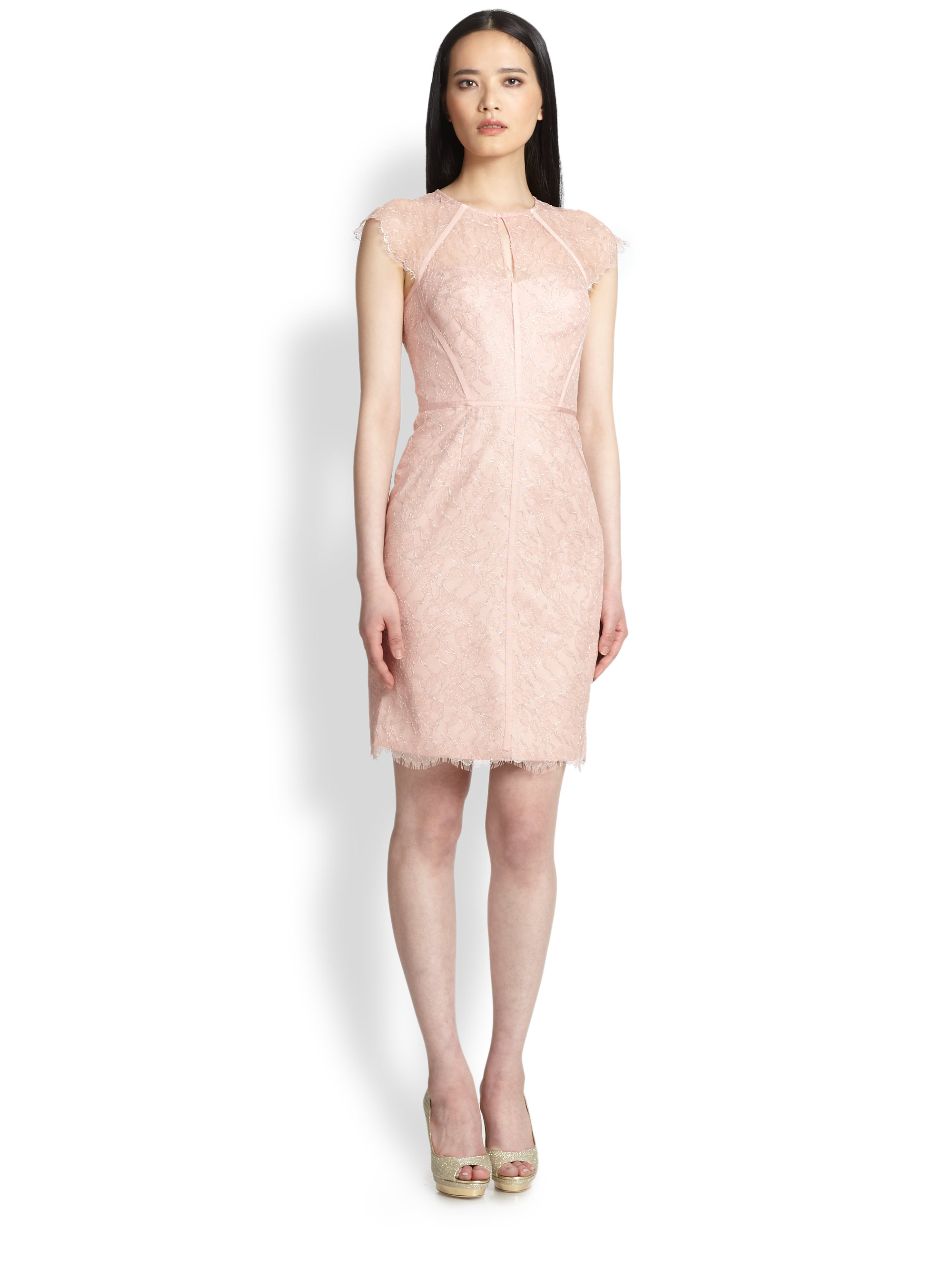 Lyst - Ml monique lhuillier Lace Cap-Sleeve Dress in Pink