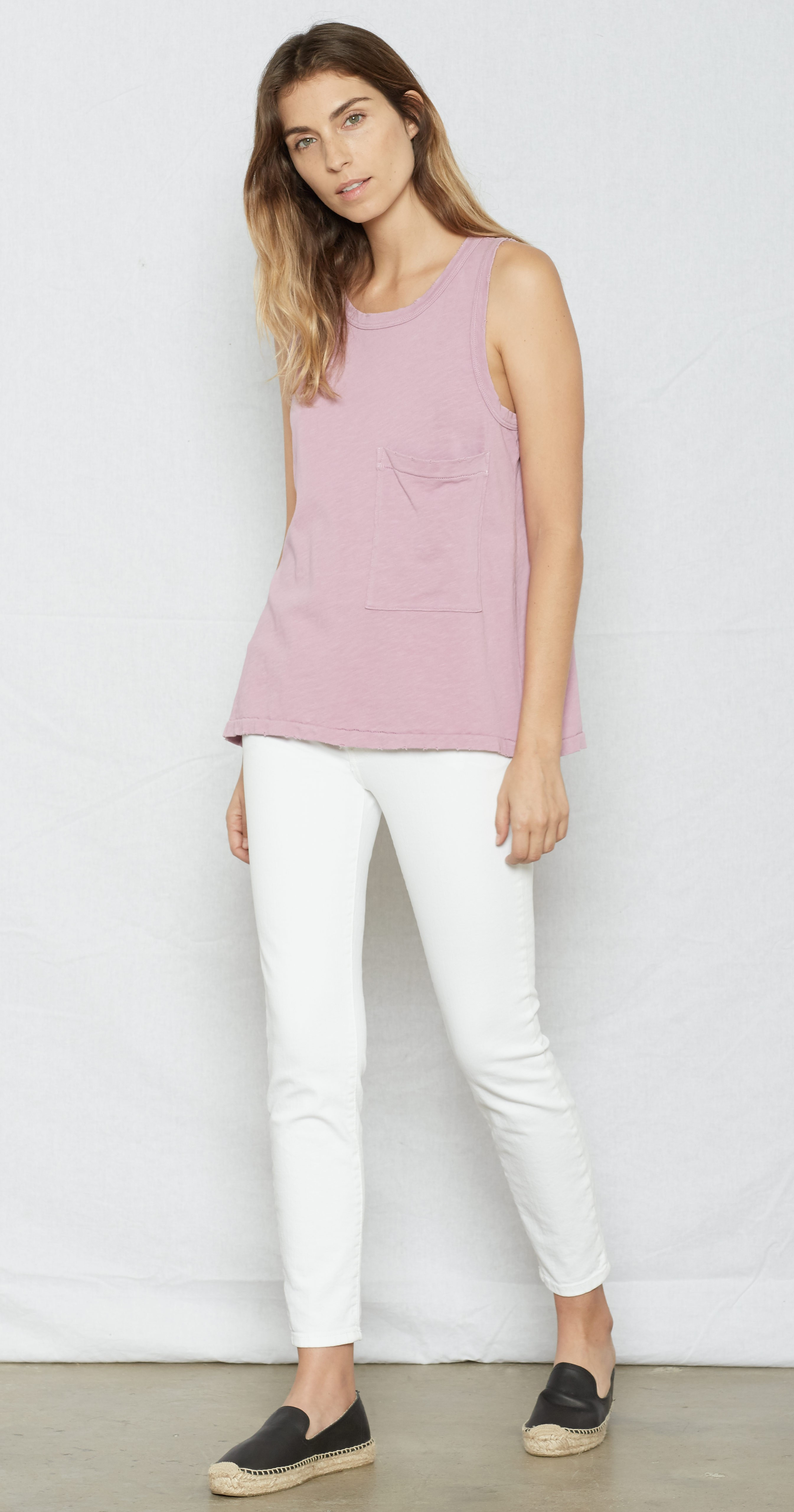 c064b11534a22 Lyst - Current Elliott The Pocket Muscle Tee in Pink