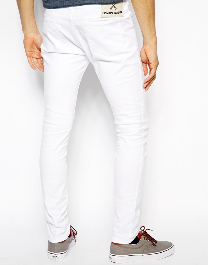 Lyst - Criminal Damage Super Skinny Jeans in White in White for Men