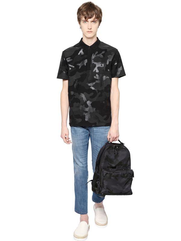 721080b12e Valentino Camouflage Nylon Jacquard Backpack in Black for Men - Lyst