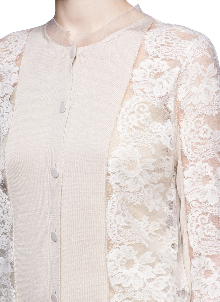 Lanvin Lace Sleeve Cotton-silk Cardigan in Natural | Lyst