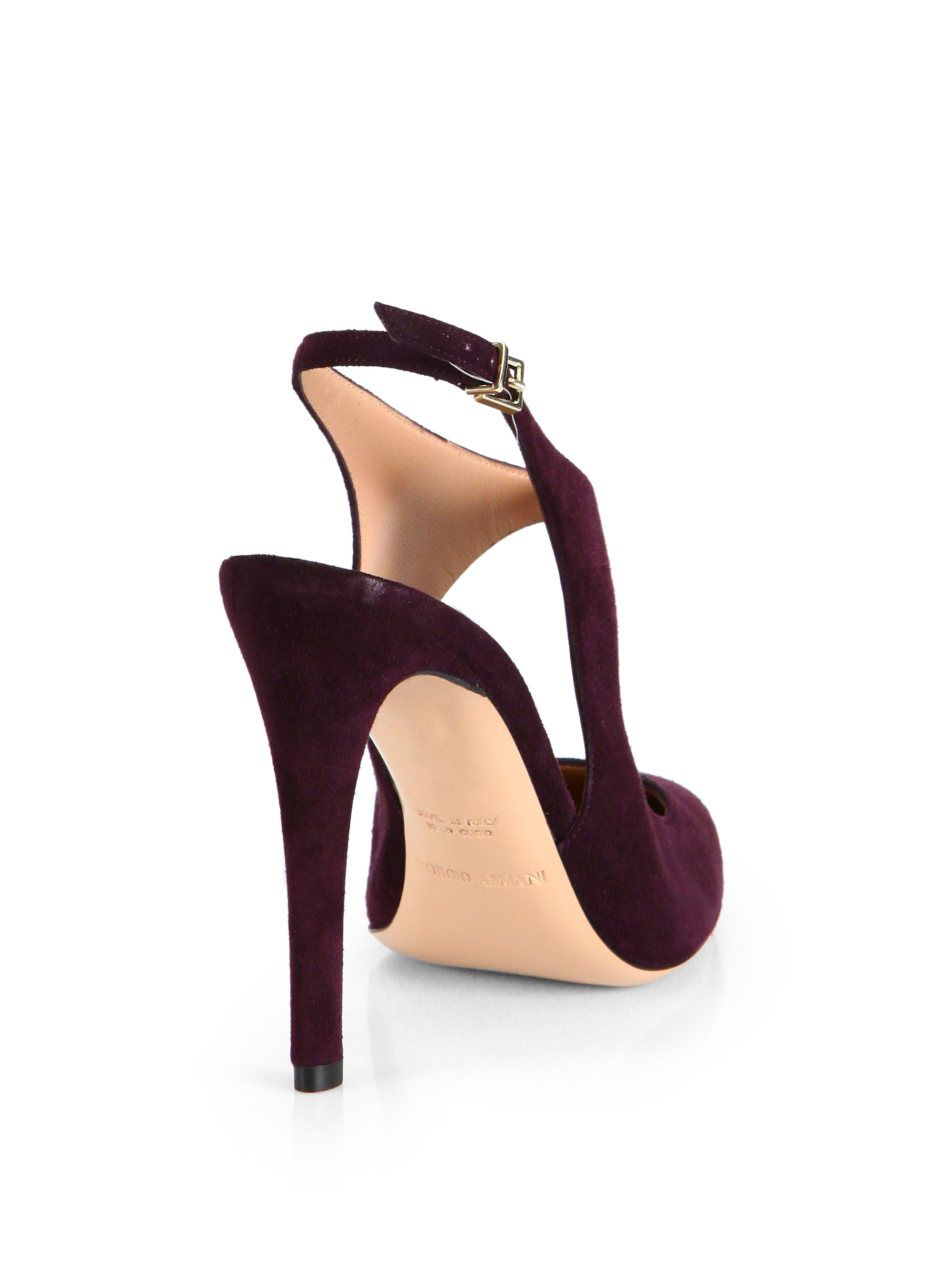 Lyst - Giorgio armani Suede Cutout Slingback Pumps in Purple