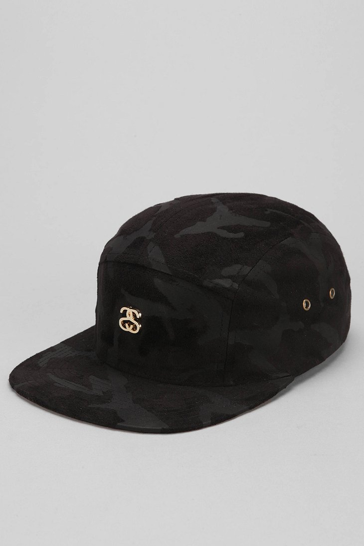 Lyst - Stussy Suede Camo Camp 5-Panel Hat in Black for Men 7cc0618933f
