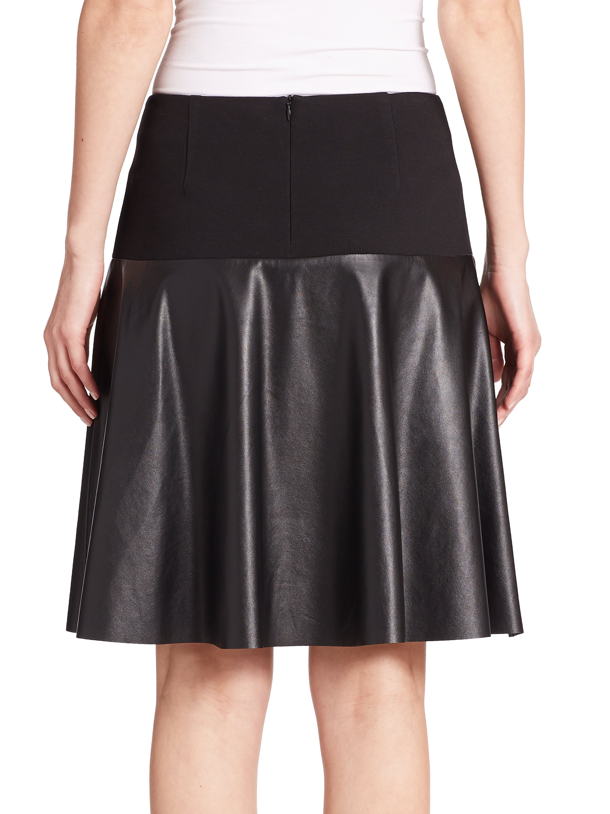lafayette 148 new york keana neoprene faux leather skirt