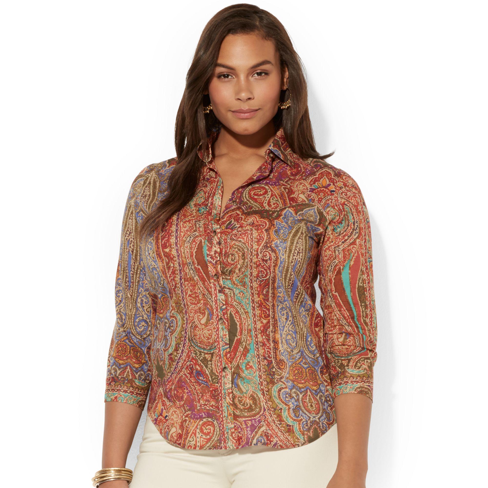 Lauren by ralph lauren plus size paisleyprint shirt in for Plus size light blue shirt