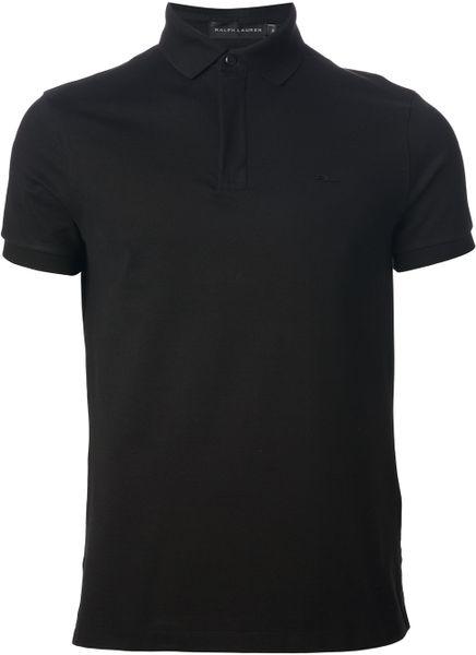 Ralph lauren black label logo polo shirt in black for men for Ralph lauren black label polo shirt