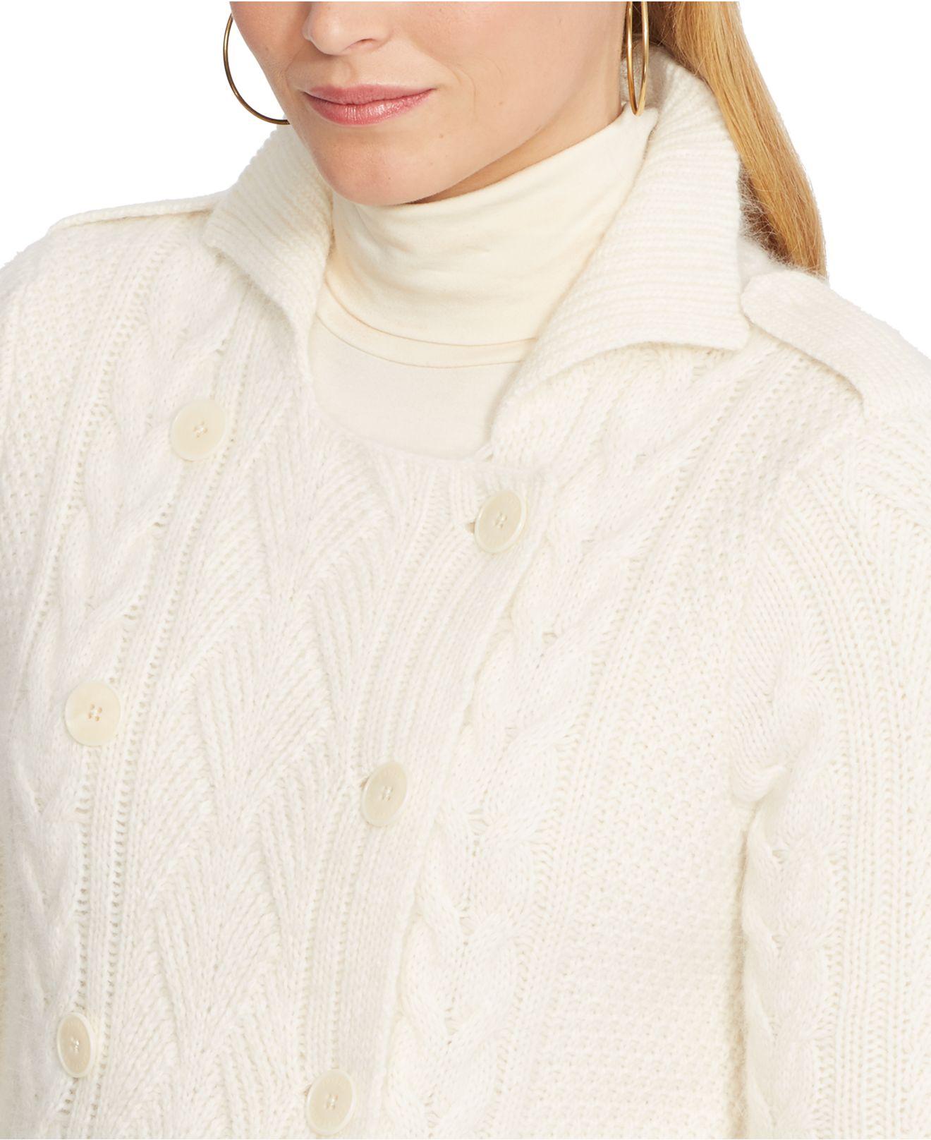 Lyst Lauren By Ralph Lauren Plus Size Cable Knit Sweater Coat In