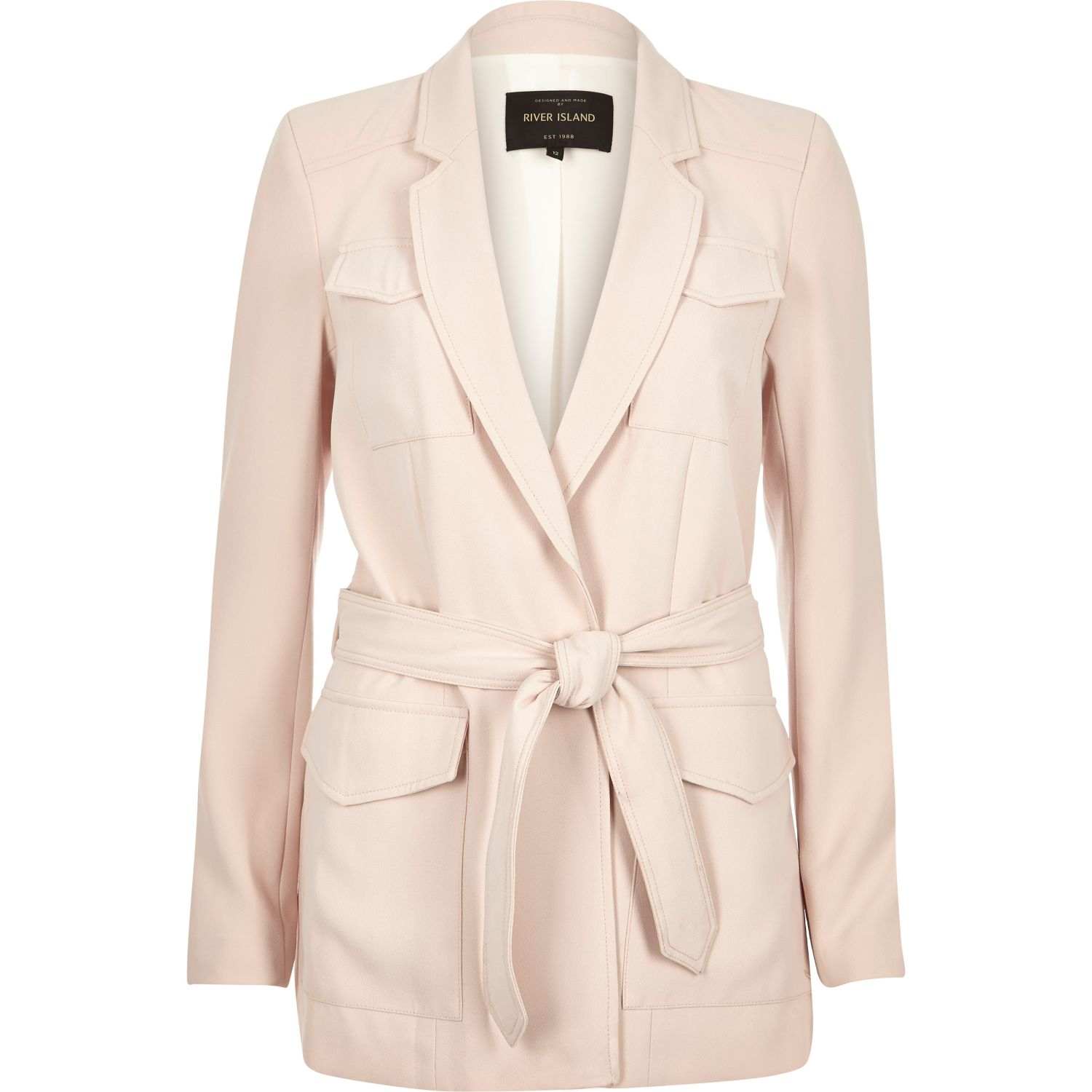 River island Light Pink Smart Belted Jacket in Pink | Lyst