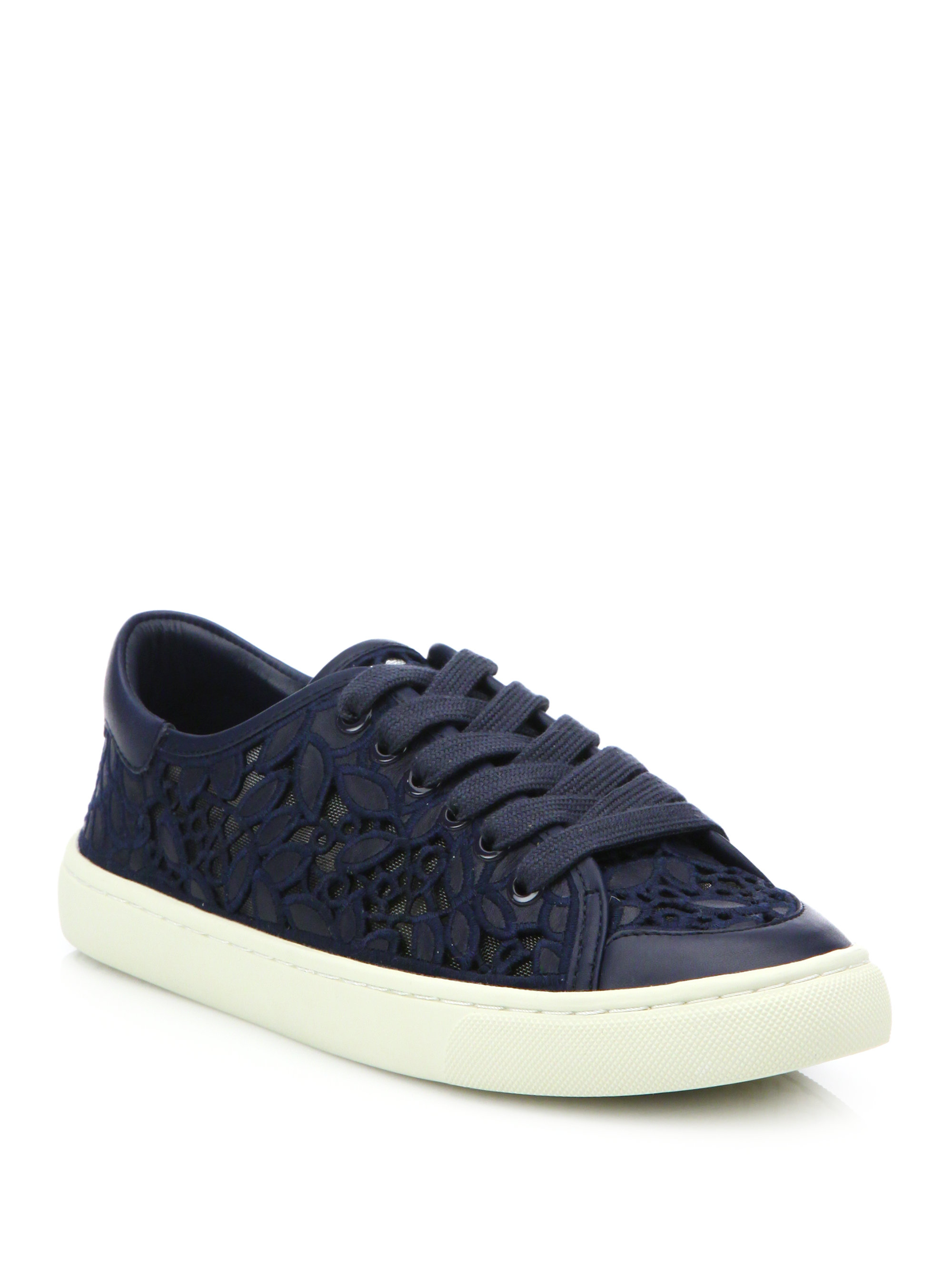 4e3db0a84d7 Lyst - Tory Burch Rhea Embroidered Lace-up Sneakers in Blue