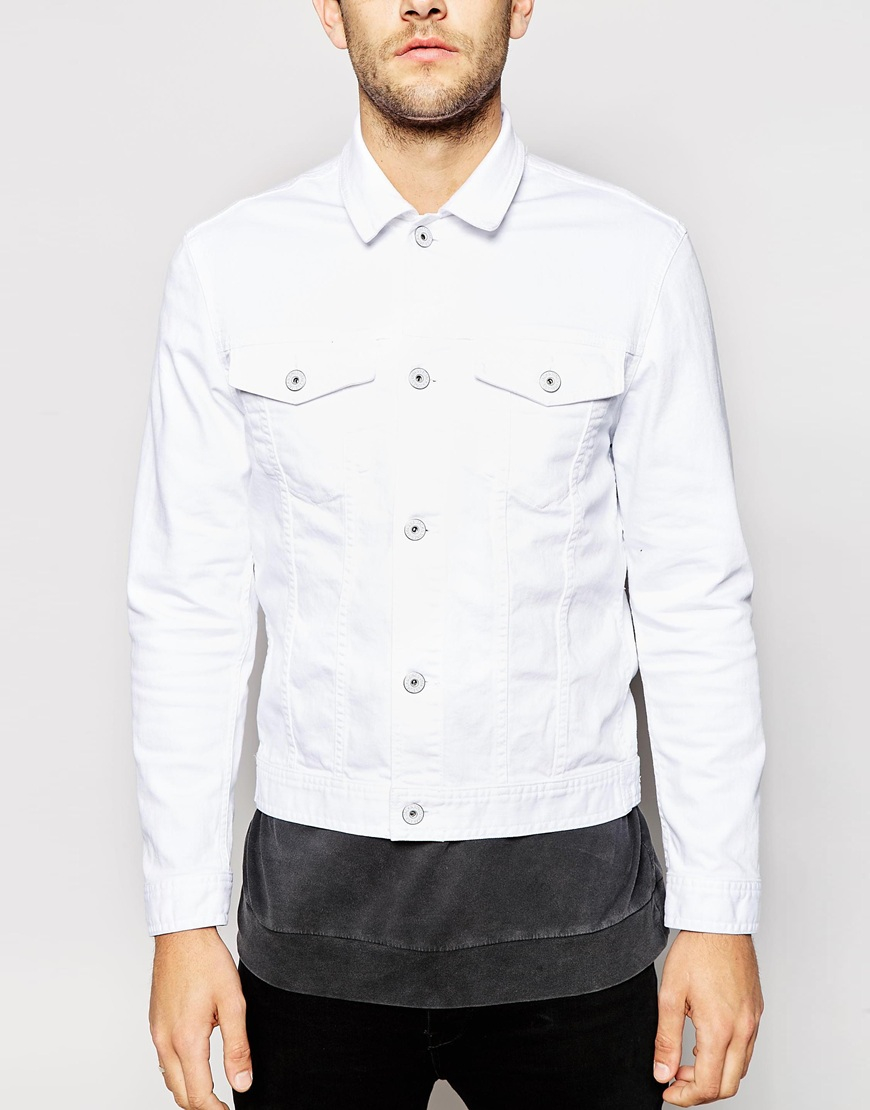 jack jones white denim jacket in white for men lyst. Black Bedroom Furniture Sets. Home Design Ideas