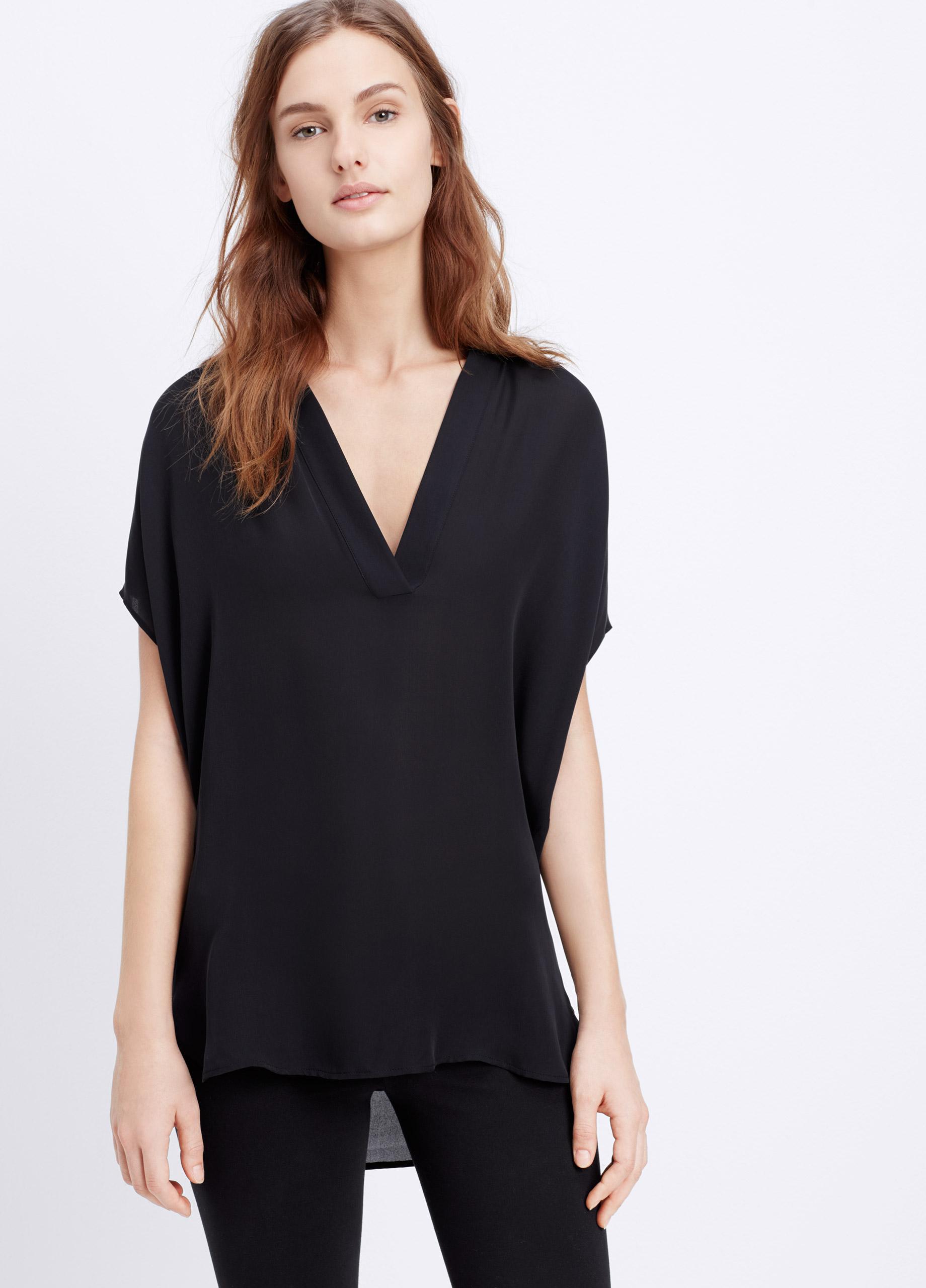 6740b8eecc2a9d Lyst - Vince Cap Sleeve Silk Popover Blouse in Black