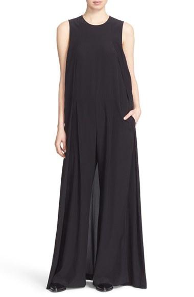 2b099c856ac0 Lyst - DKNY Wide Leg Stretch Silk Jumpsuit in Black