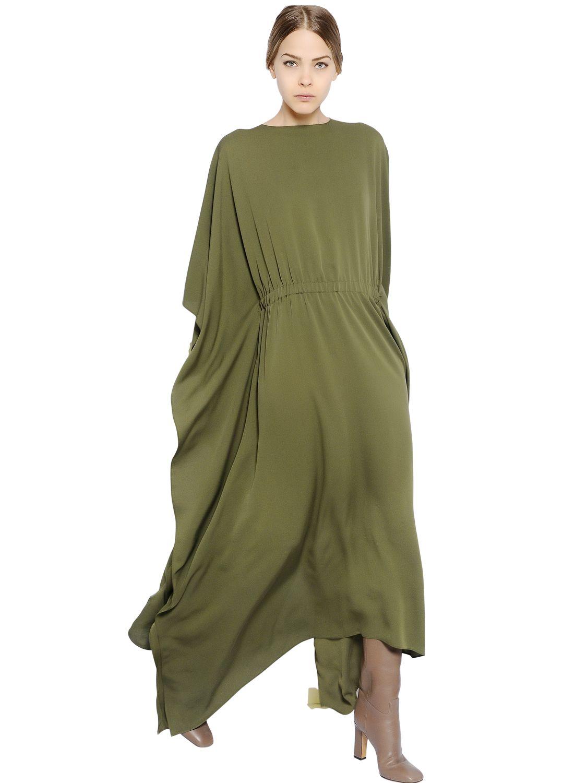 Valentino Light Silk Cady Caftan Dress in Green