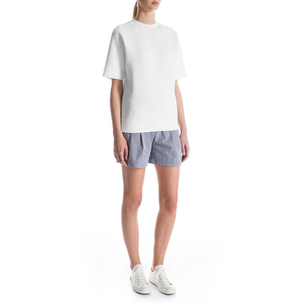 Sunspel Women's Quilted Jacquard Cotton Short Sleeve Sweatshirt in ...