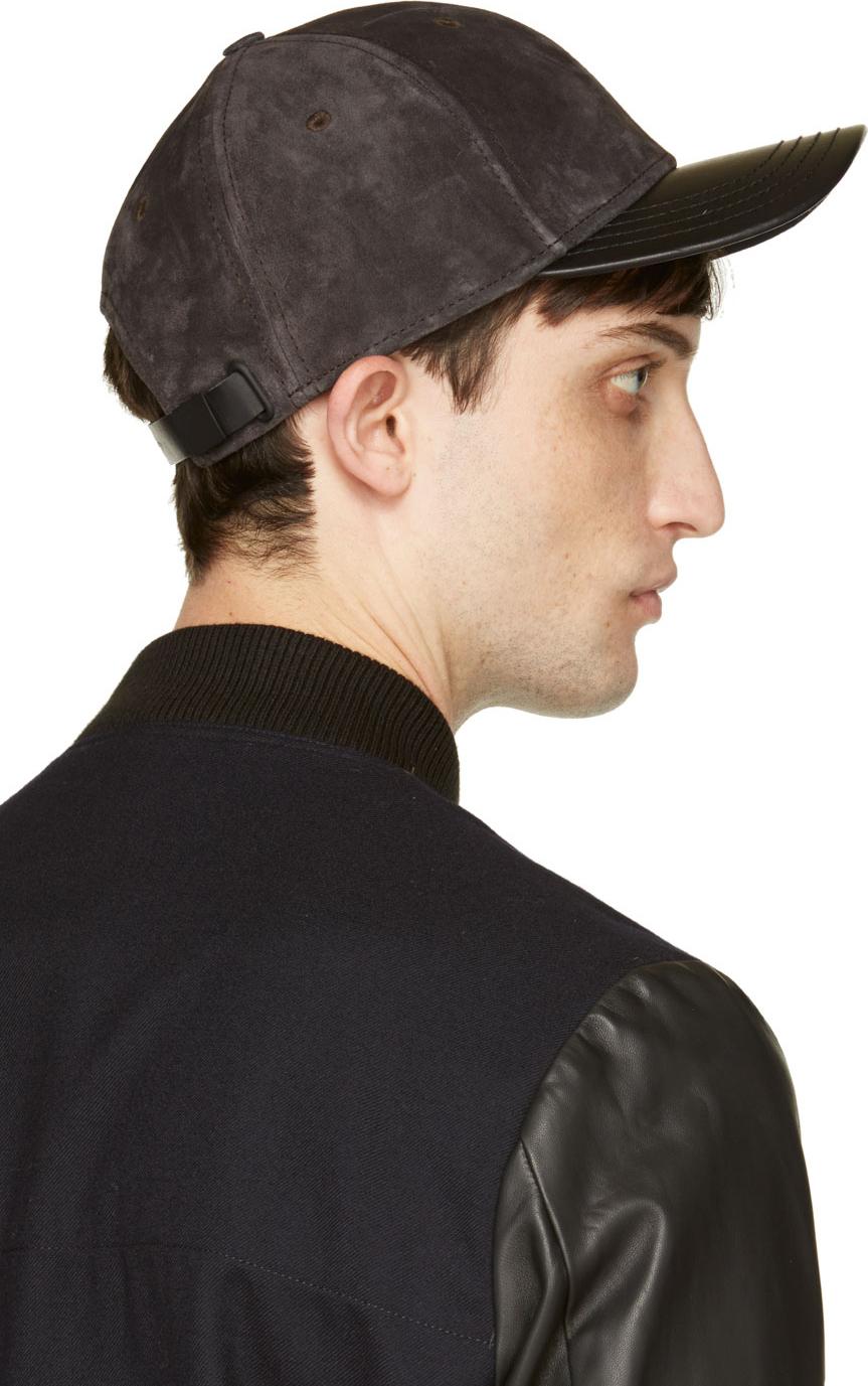 Lyst - Rag   Bone Dark Grey Suede Baseball Cap in Gray for Men b39896112e4