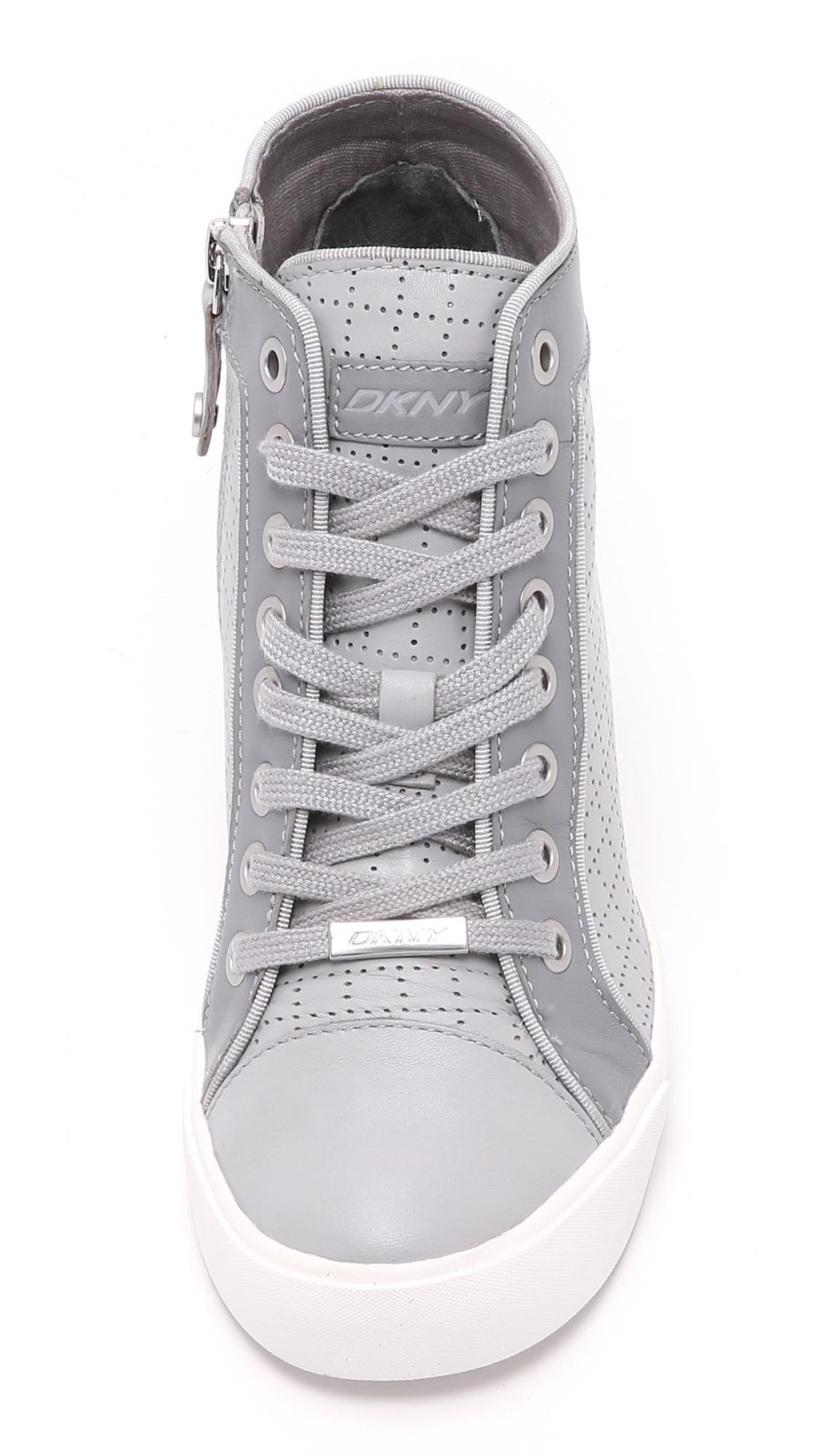 71107123707 Lyst - DKNY Cresta Wedge Sneakers in Gray