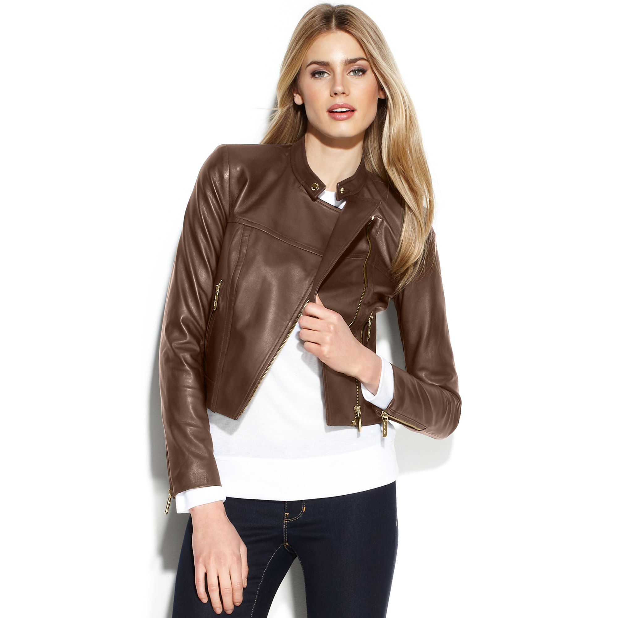 Michael kors Cropped Leather Moto Jacket in Brown | Lyst