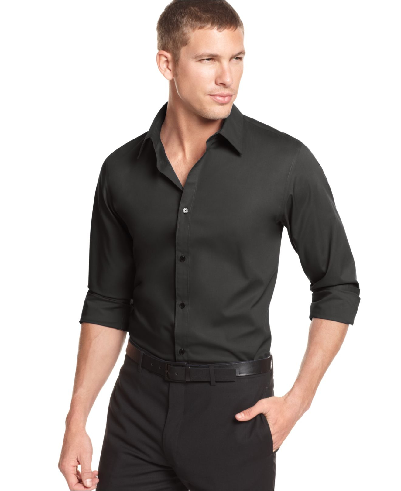 Lyst calvin klein core solid stretch shirt in black for men for Calvin klein slim fit stretch shirt