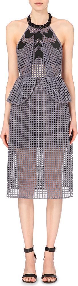 8d3d85428eb7 Self-Portrait Embroidered Peplum Dress, Women's, Size: 8, Grey in ...
