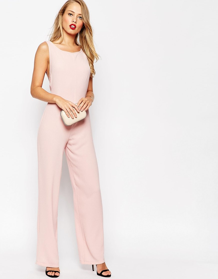 Asos cut out bow back jumpsuit in pink lyst for Bebe dresses wedding guest