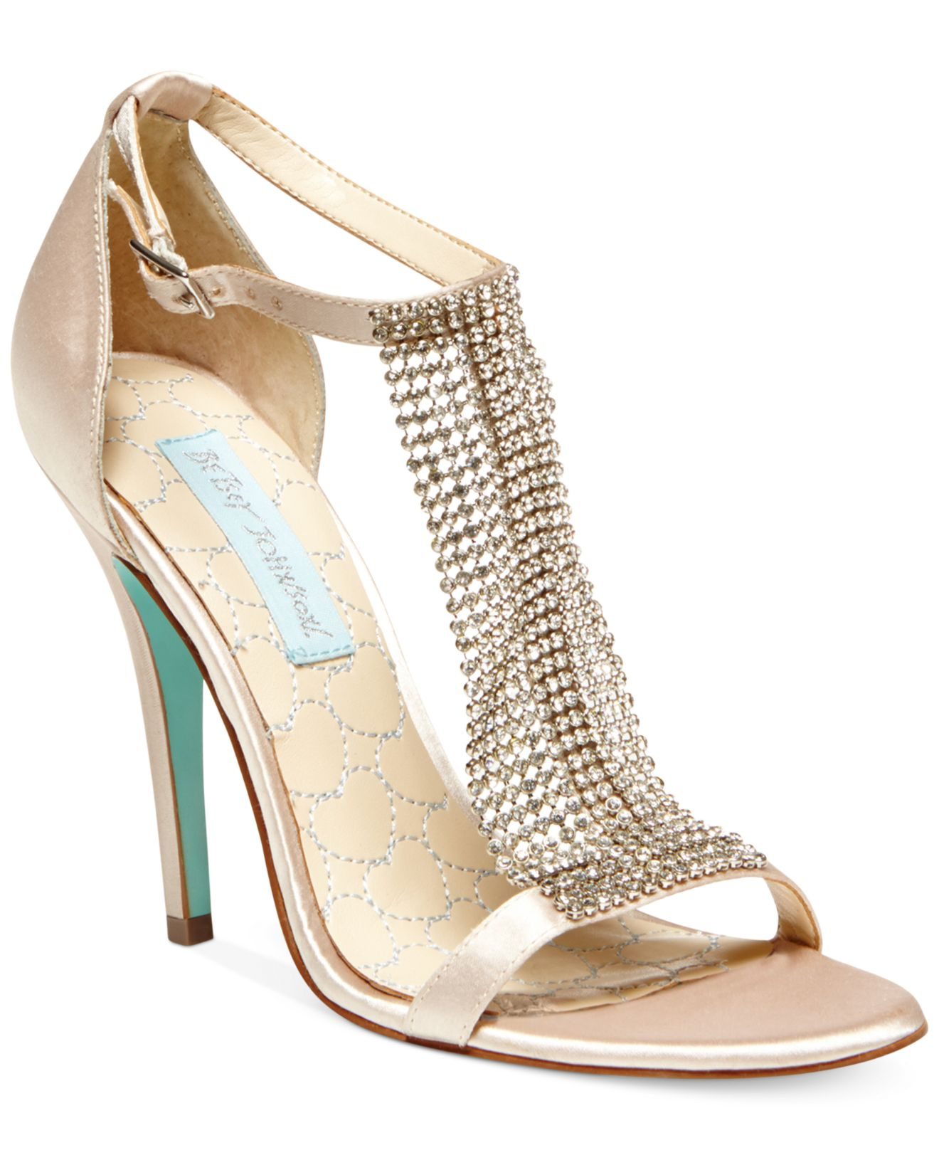 ea375c13a Betsey Johnson Blue By Mesh Evening Sandals in Natural - Lyst