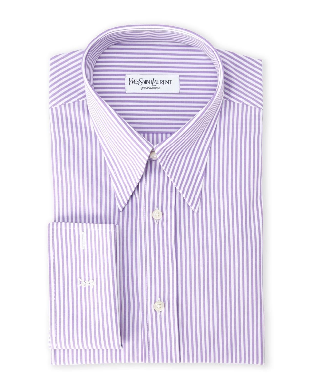 Lyst saint laurent purple stripe french cuff dress shirt for Purple french cuff dress shirt
