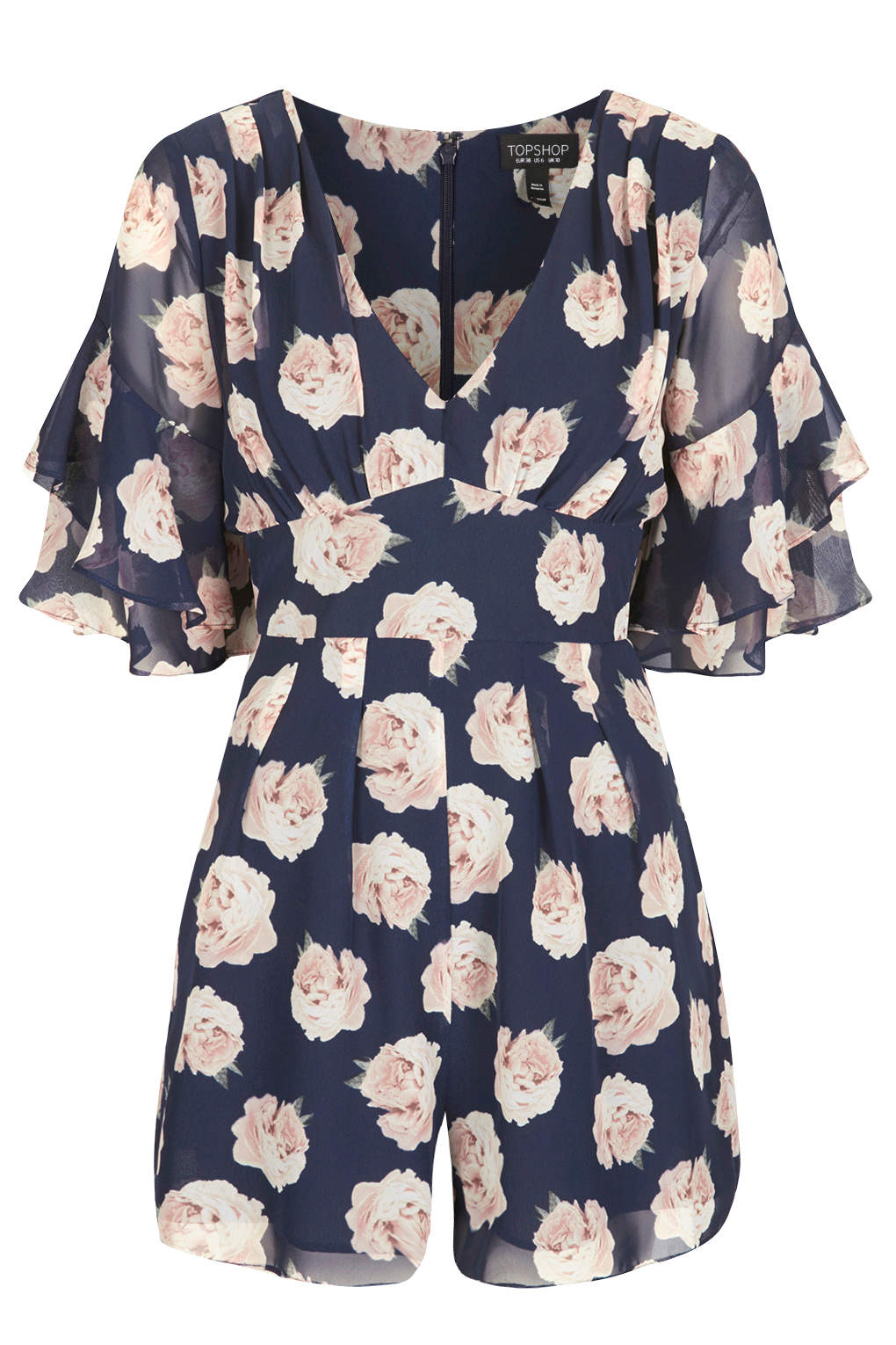 Topshop floral frill playsuit in blue navy blue lyst for Womens denim shirts topshop