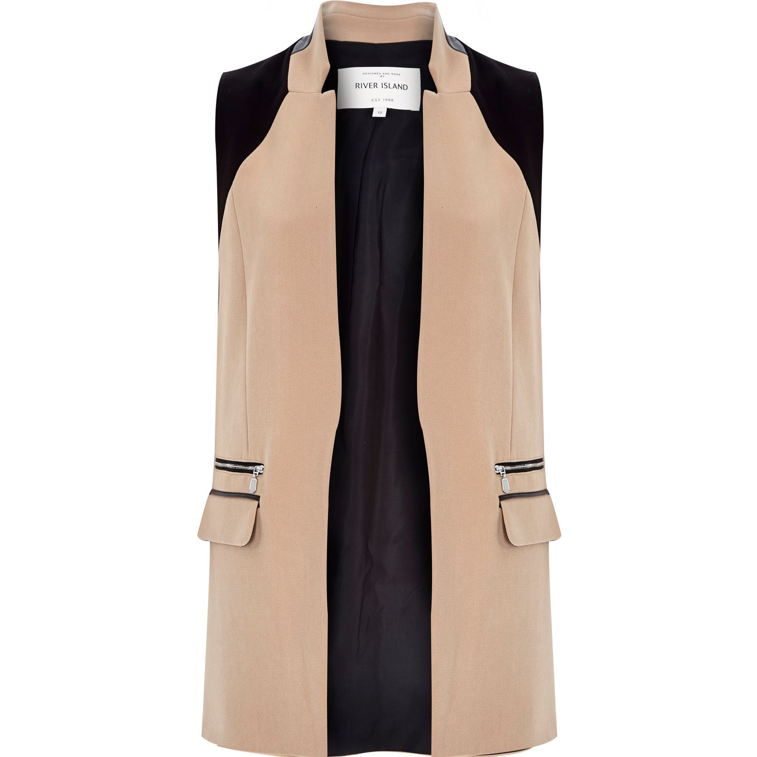 085b82c3be467 River Island Brown Fitted Longline Sleeveless Jacket in Brown - Lyst