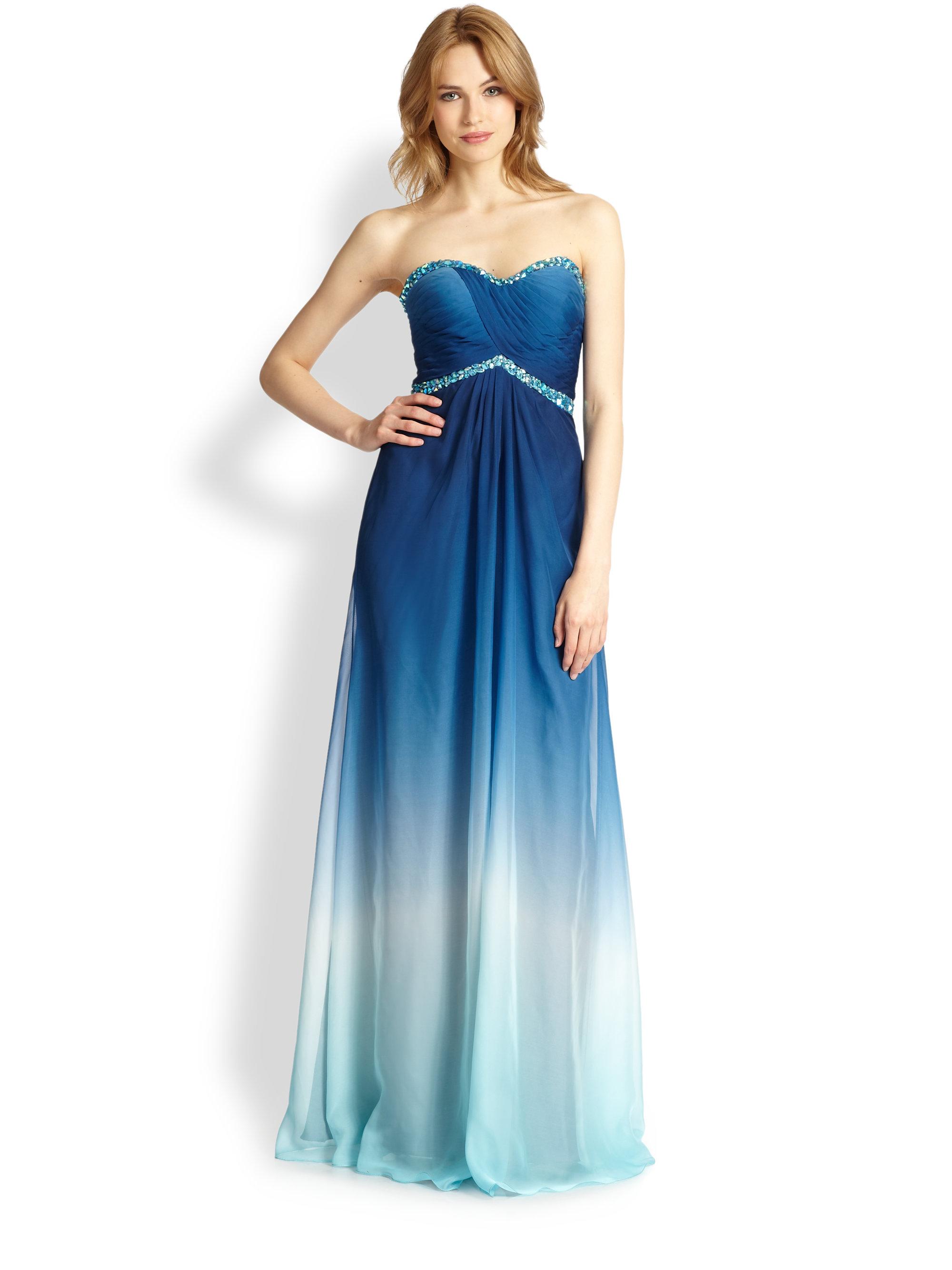 68ed28aaa54 La Femme Strapless Organza Ombr Eacute  Gown in Blue - Lyst