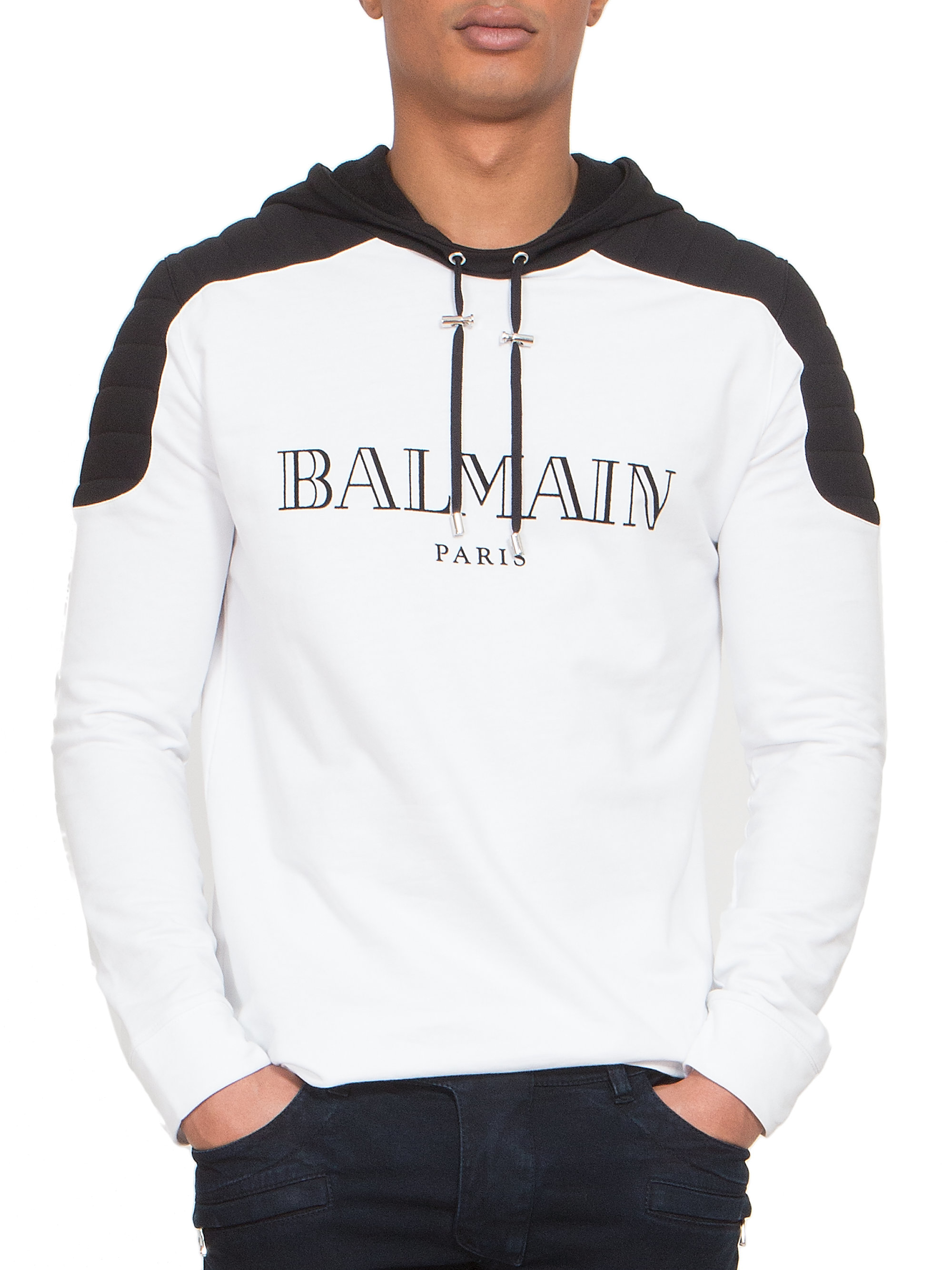 ab102673dfc Balmain Quilted Shoulder Logo Hoodie in White for Men - Lyst