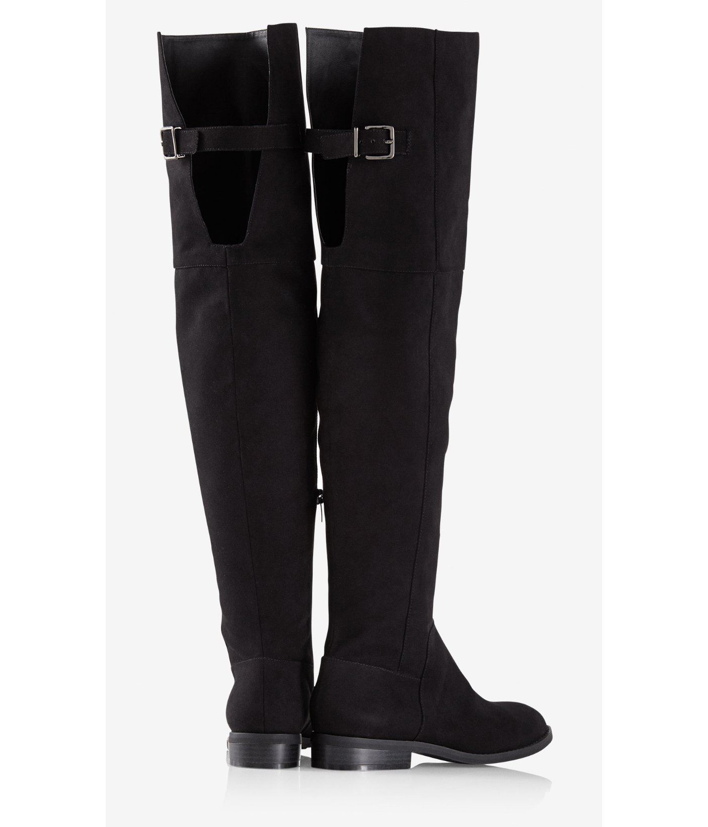 Express Faux Suede Over-the-knee Flat Boot in Black   Lyst