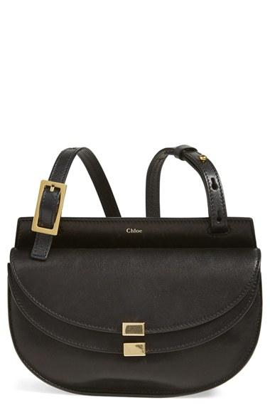 Chlo¨¦ \u0026#39;Georgia - Small\u0026#39; Leather Crossbody Bag in Black | Lyst