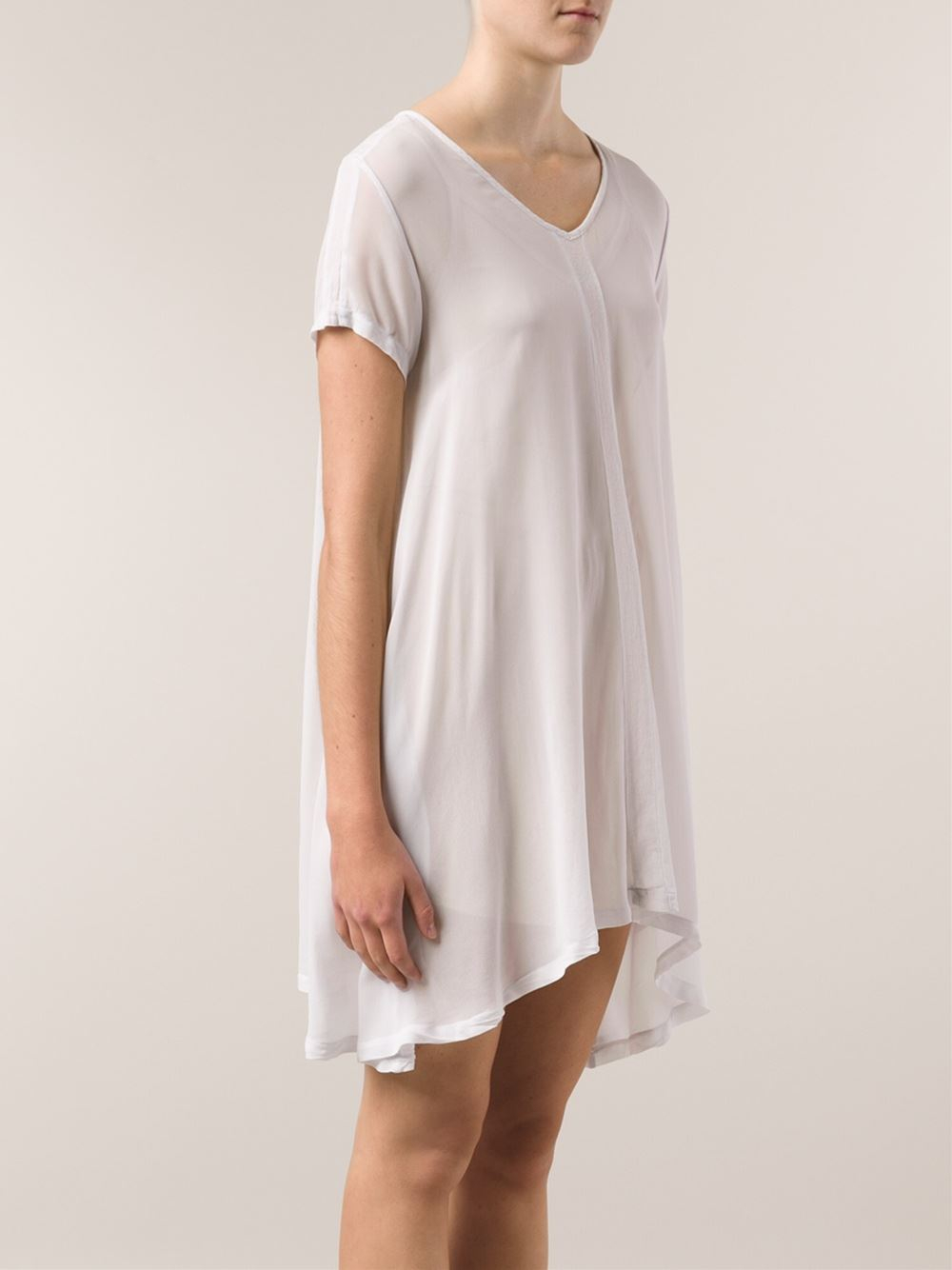 Lacausa t shirt dress in white lyst for Dressy white t shirt