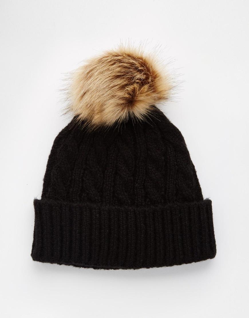 Lyst - ASOS Cable Faux Fur Pom Beanie in Black 0de8538b72d