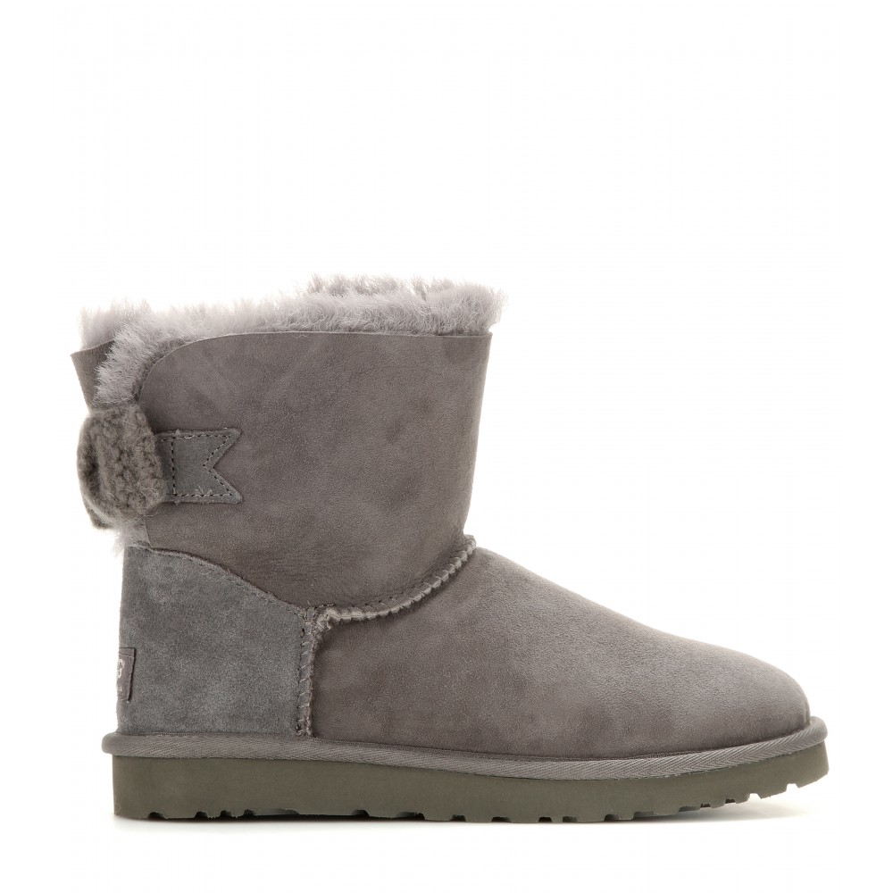 ugg mini bailey bow suede boots in gray lyst. Black Bedroom Furniture Sets. Home Design Ideas