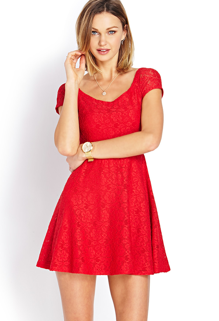 Forever 21 Sweet Lace Offtheshoulder Dress in Red | Lyst