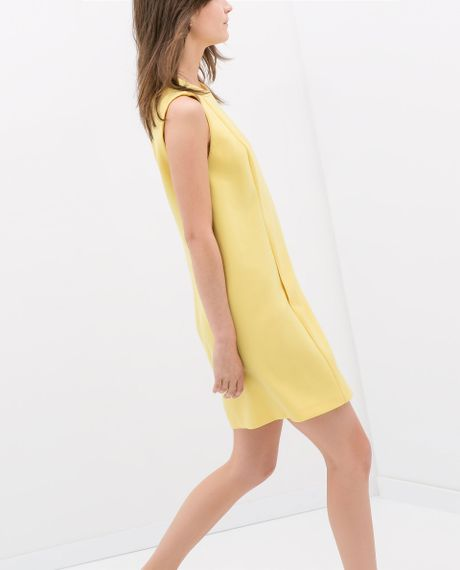 Zara Dress with Pockets in Yellow | Lyst