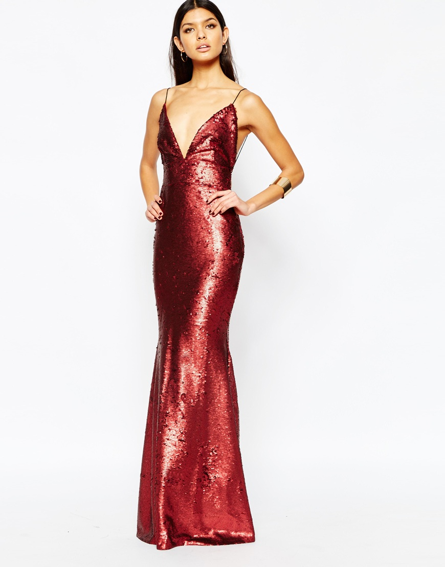Lyst Club L Showstopper Open Back Sequin Maxi Dress With
