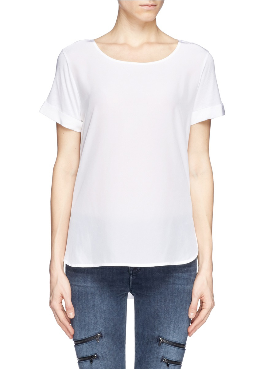 Vince silk front jersey t shirt in white lyst for Silk white t shirt