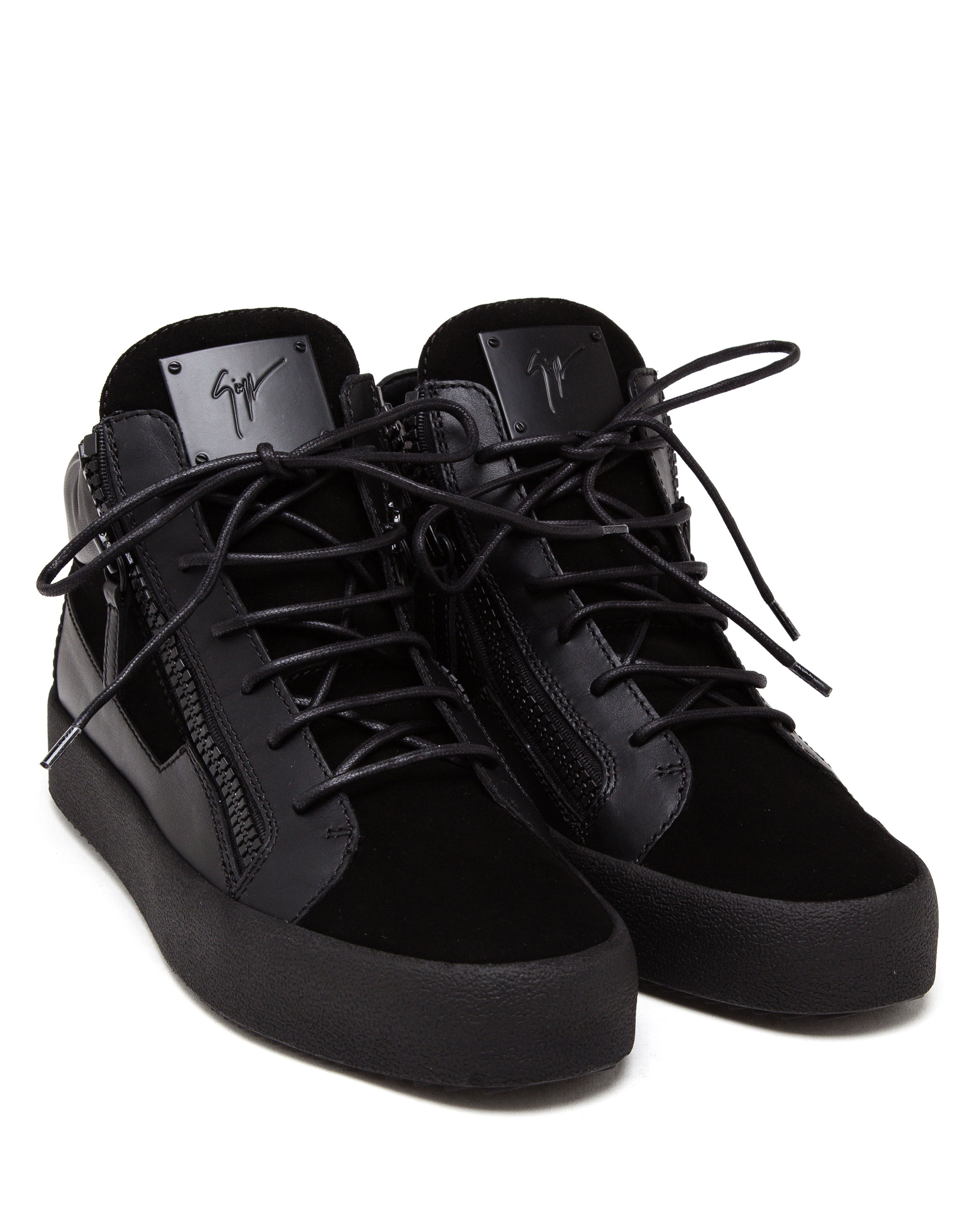 Lyst Giuseppe Zanotti Suede And Leather Mid Top Trainers