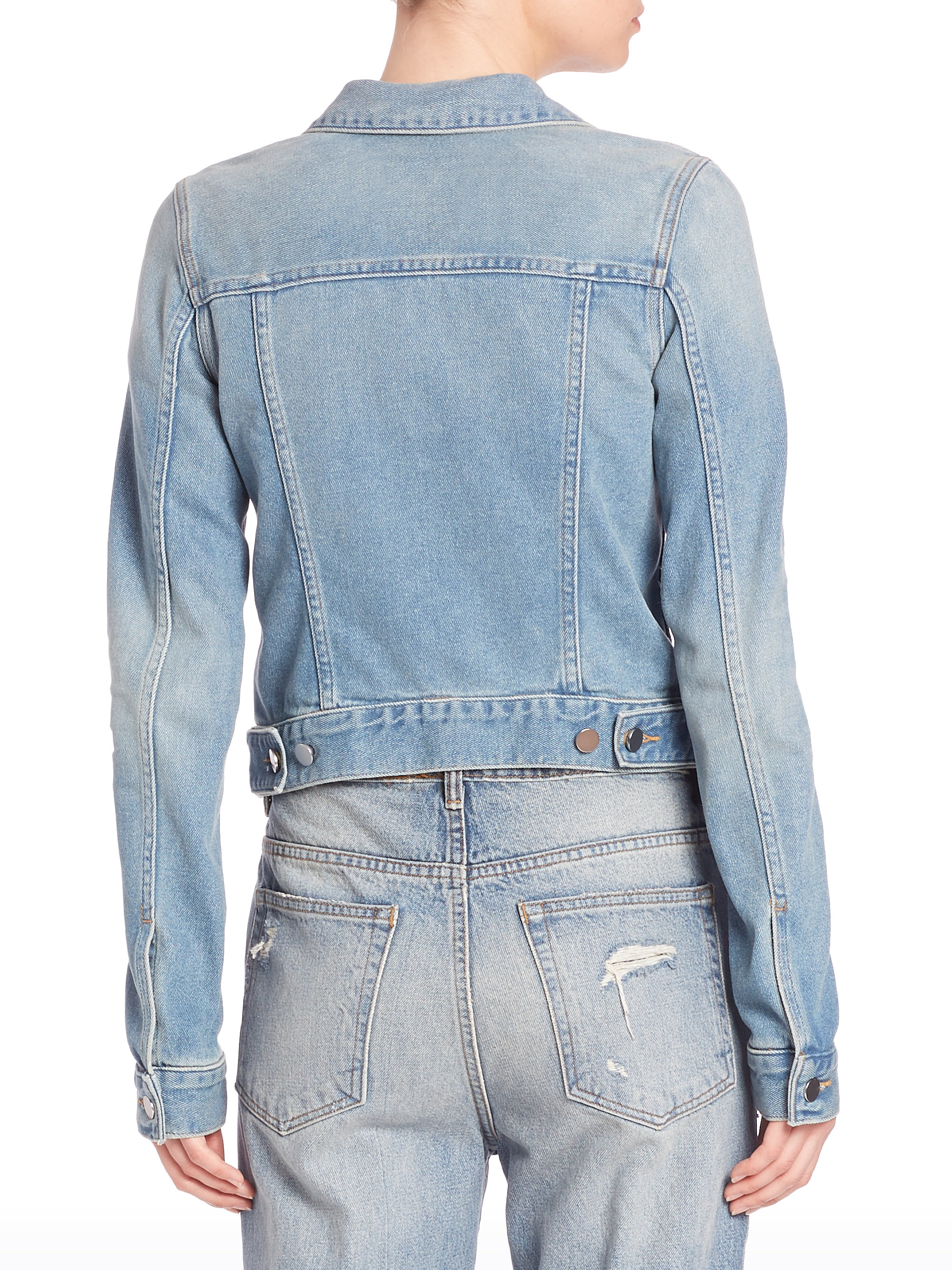 Alexander wang Axle Cropped Denim Jacket in Blue | Lyst