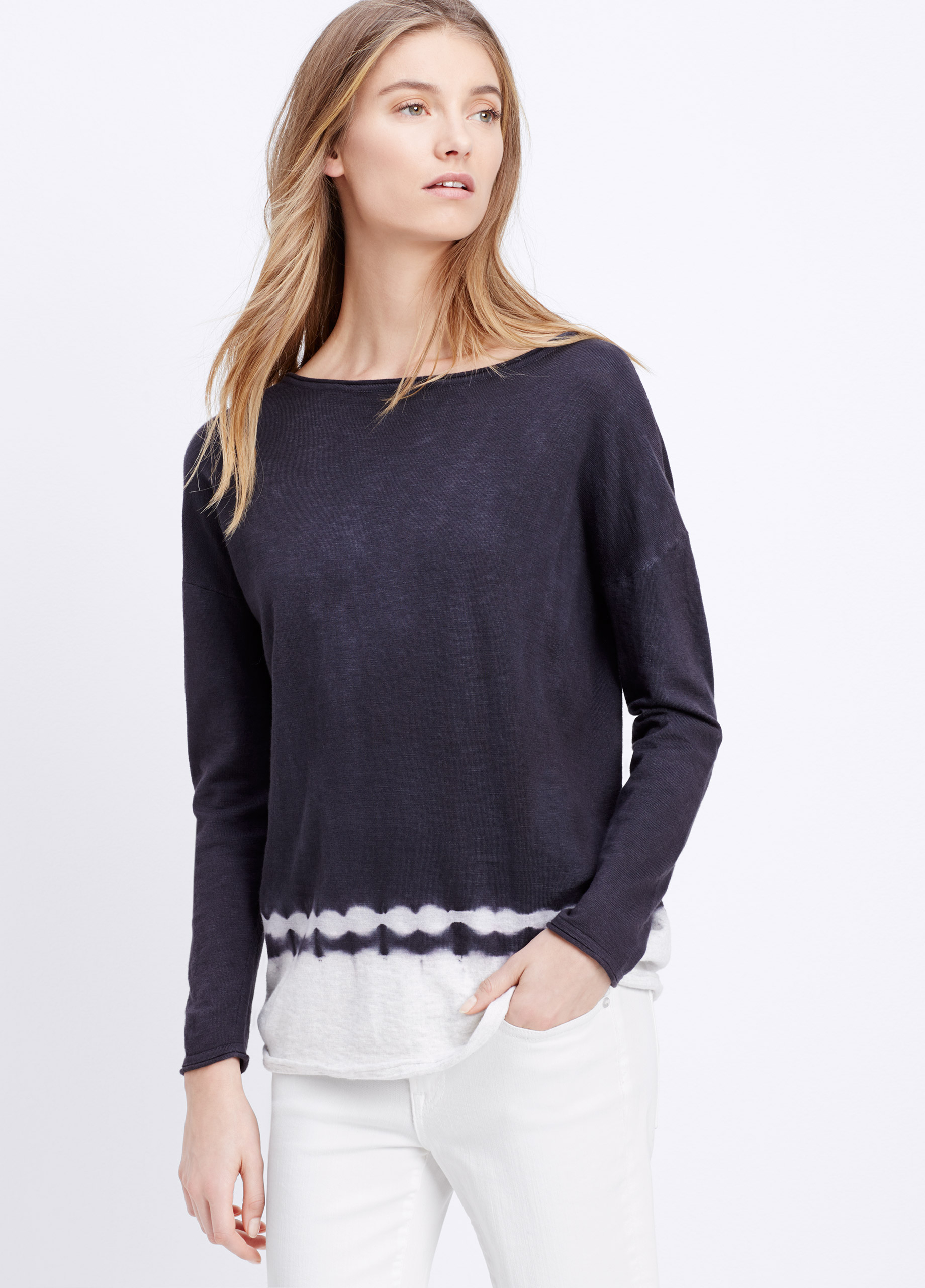 Vince Slub Cotton Tie Dye Long Sleeve Boatneck Sweater in Black | Lyst