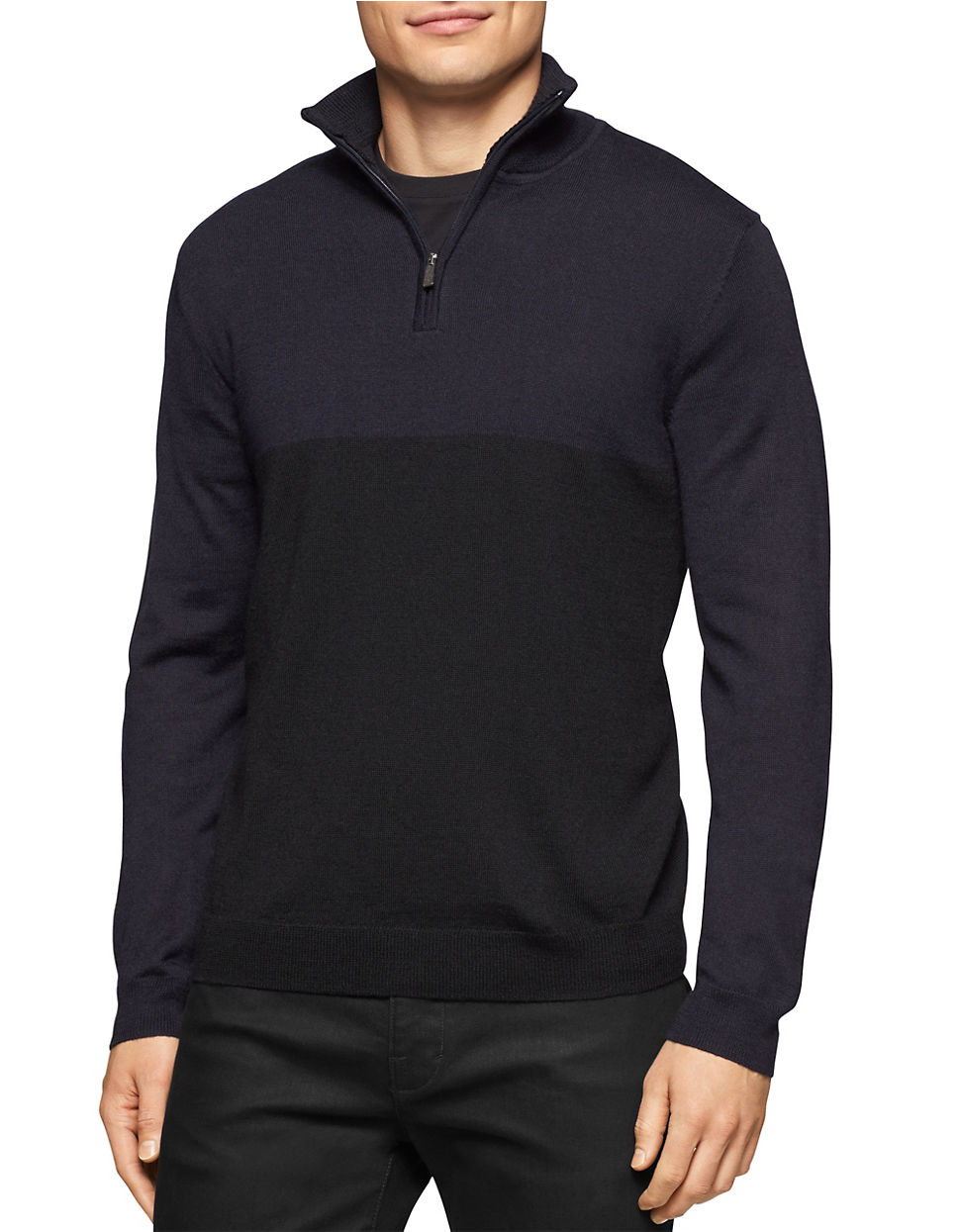 calvin klein merino wool quarter zip sweater for men lyst. Black Bedroom Furniture Sets. Home Design Ideas