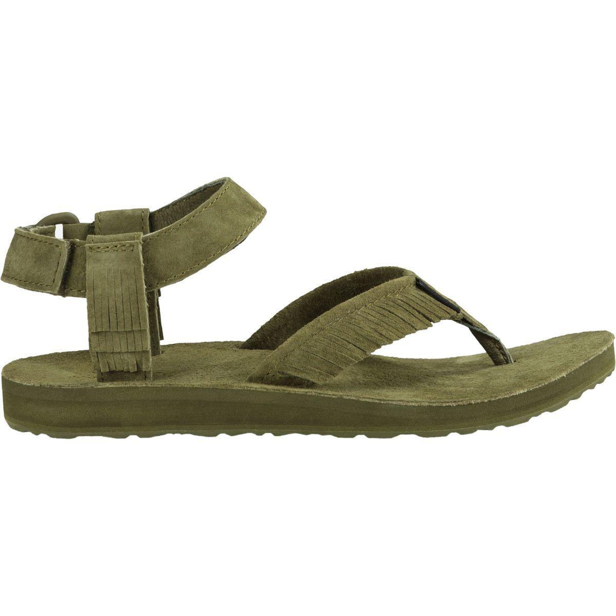7e0096b75c23 Lyst - Teva Original Leather Fringe Flat Sandal in Green