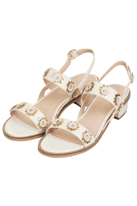Topshop Honeymoon Flower Sandals In White Lyst
