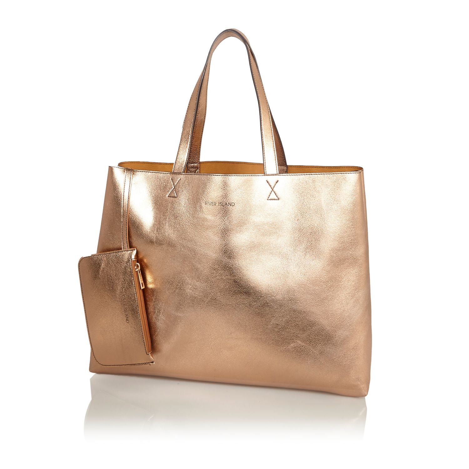 River island Rose Gold Metallic Reversible Pouch Beach Bag in Pink ...