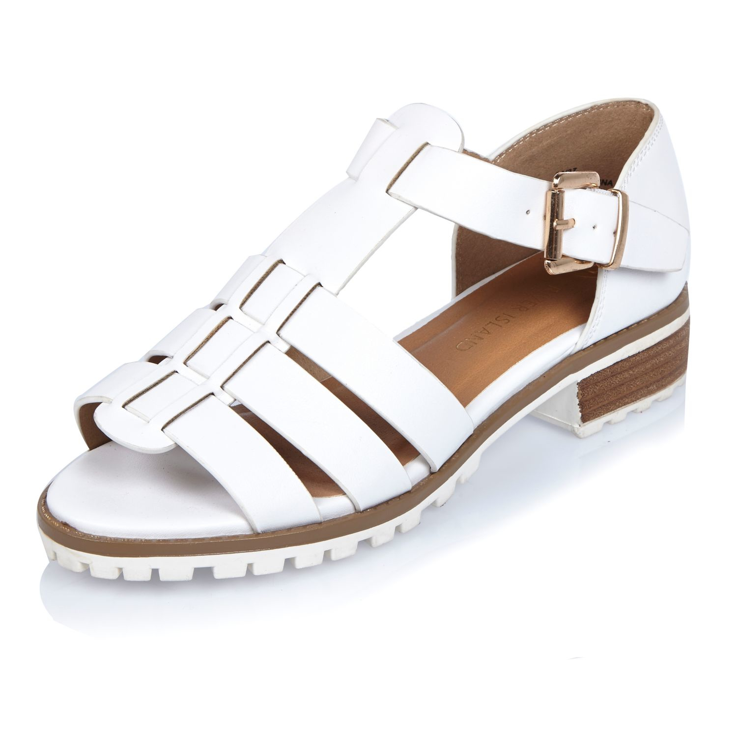 d57493af9e1db7 Lyst - River Island White Strappy Open Toe Geek Shoes in White