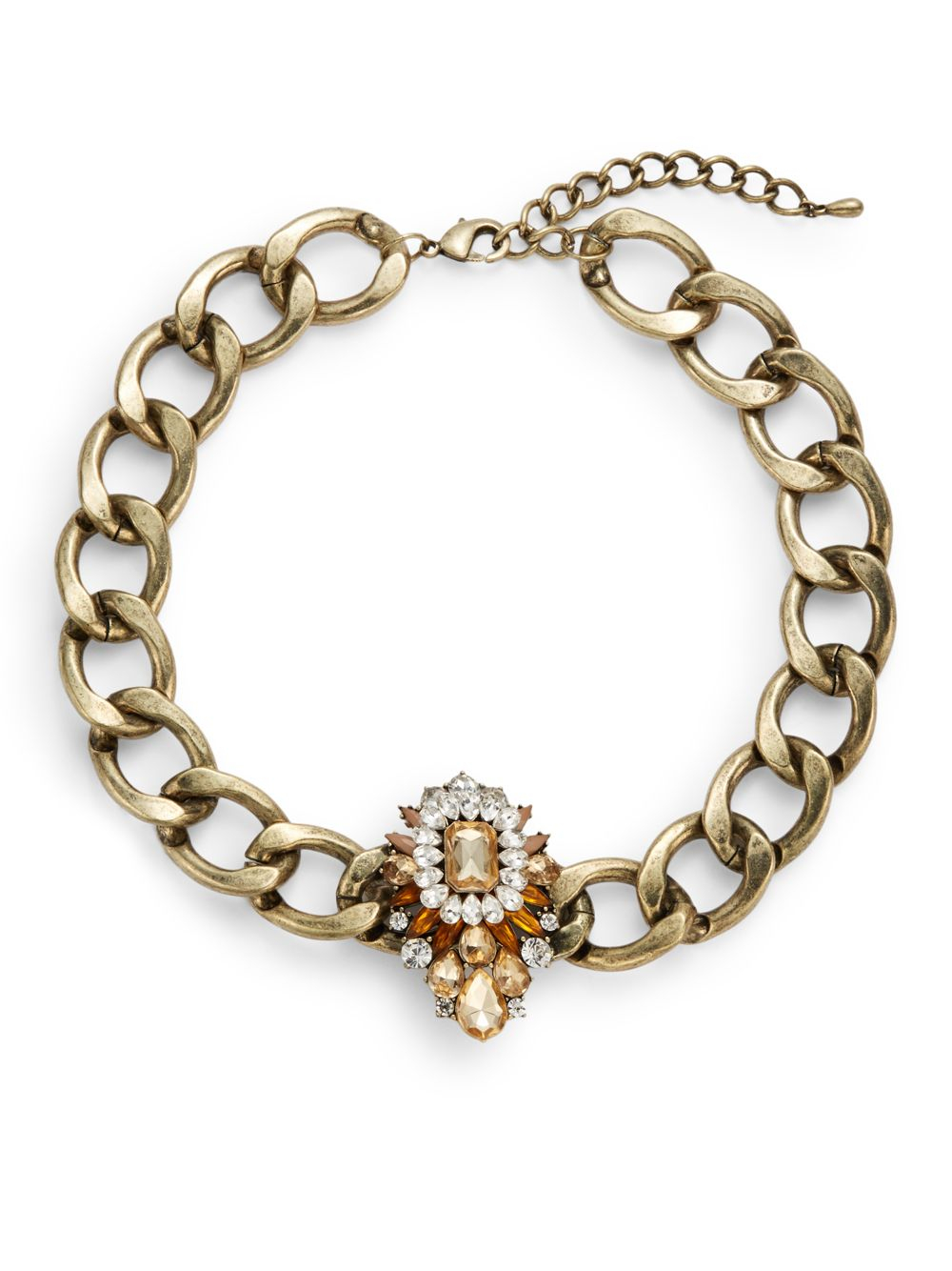 saks fifth avenue embellished chain collar necklace in