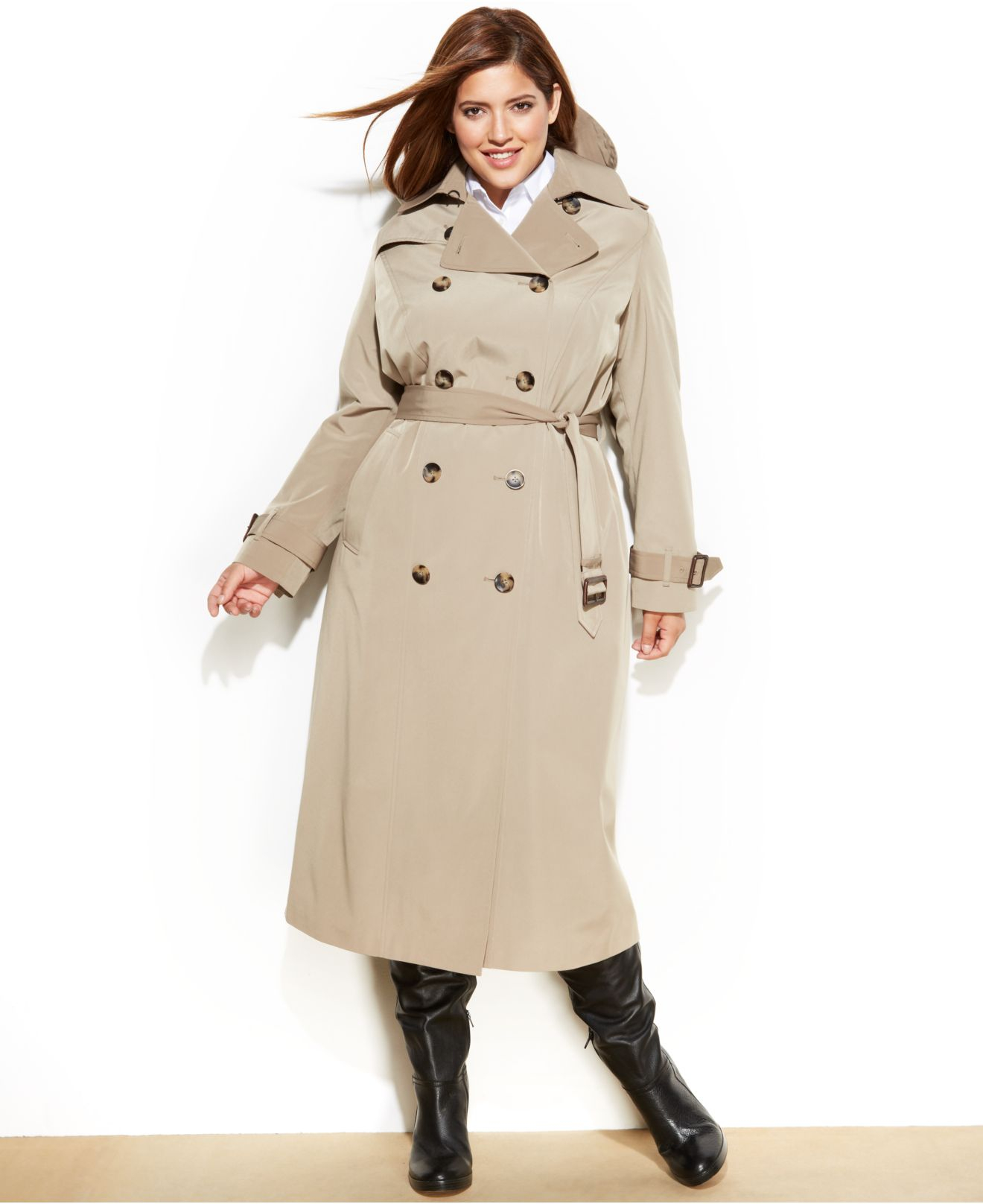 ca2cec3246935 Lyst - London Fog Plus Size Long Trench Coat in Natural