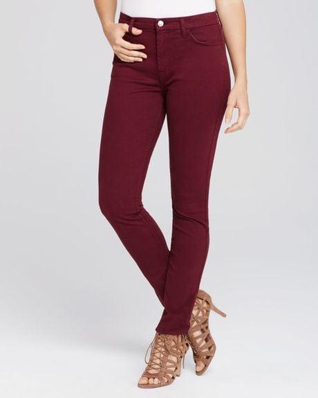 Jen7 Purple Brush Sateen Skinny Jeans In Burgundy Lyst